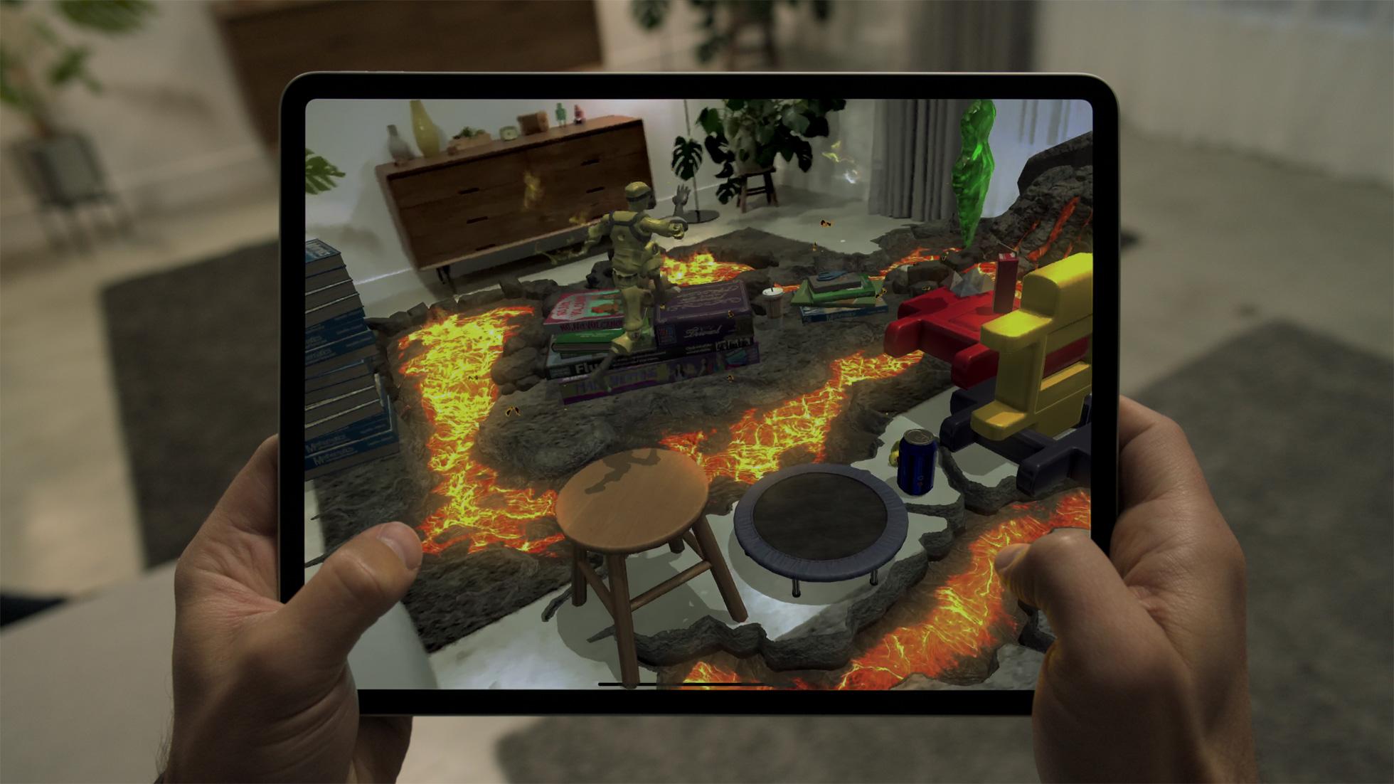 "AR-Anwendung des Spiels ""Hot Lava"" auf dem iPad Pro"